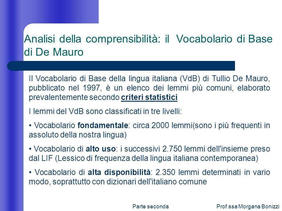 Parte secondaProf.ssa Morgana Bonizzi Il Vocabolario di Base della lingua italiana (VdB) di Tullio De Mauro, pubblicato nel 1997, è un elenco dei lemm