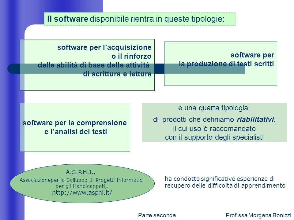 Parte secondaProf.ssa Morgana Bonizzi Il software disponibile rientra in queste tipologie: software per lacquisizione o il rinforzo delle abilità di b