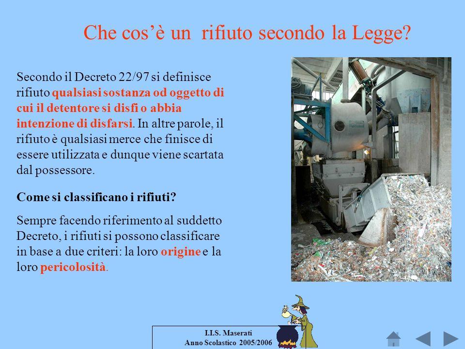 I.I.S. Maserati Anno Scolastico 2005/2006 Che cosè un rifiuto secondo la Legge? Secondo il Decreto 22/97 si definisce rifiuto qualsiasi sostanza od og