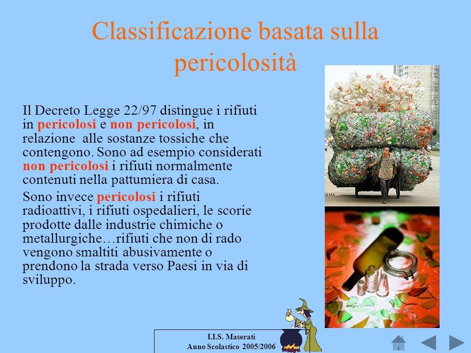 I.I.S. Maserati Anno Scolastico 2005/2006 Classificazione basata sulla pericolosità Il Decreto Legge 22/97 distingue i rifiuti in pericolosi e non per
