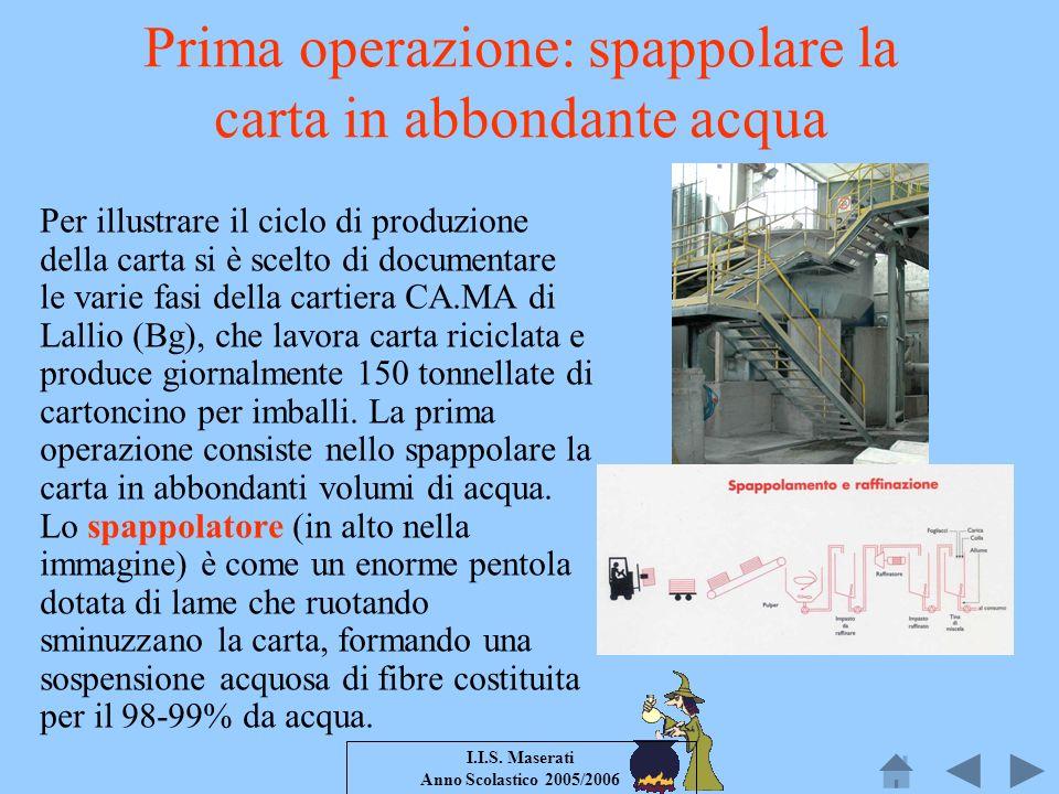 I.I.S. Maserati Anno Scolastico 2005/2006 Prima operazione: spappolare la carta in abbondante acqua Per illustrare il ciclo di produzione della carta