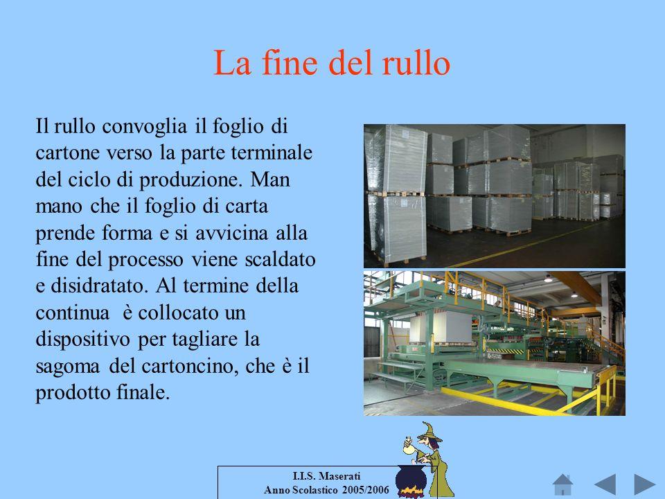 I.I.S. Maserati Anno Scolastico 2005/2006 La fine del rullo Il rullo convoglia il foglio di cartone verso la parte terminale del ciclo di produzione.