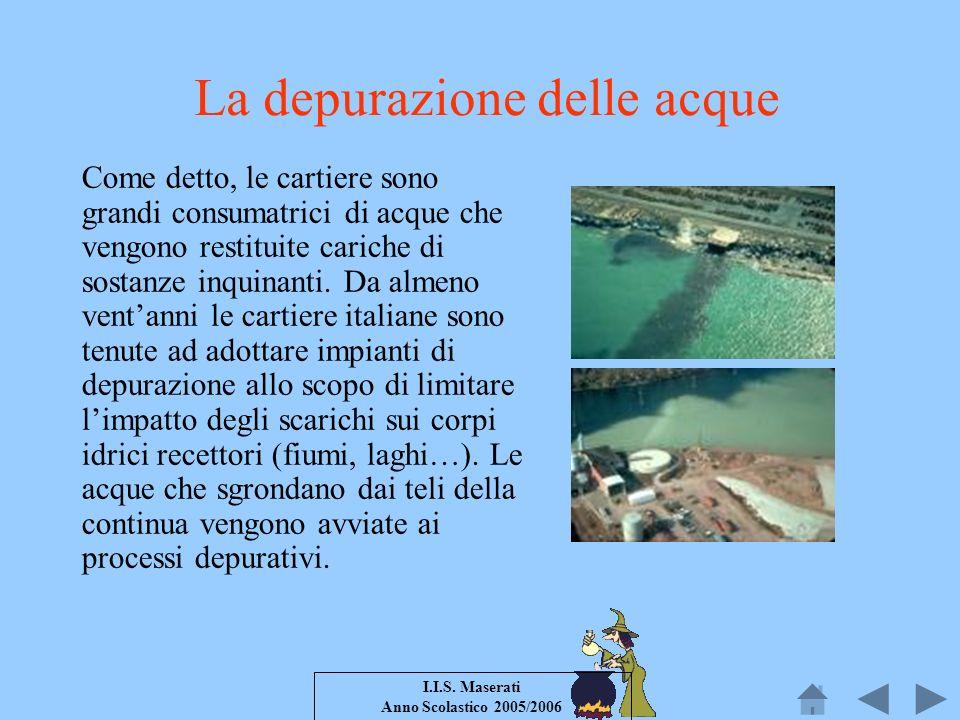 I.I.S. Maserati Anno Scolastico 2005/2006 La depurazione delle acque Come detto, le cartiere sono grandi consumatrici di acque che vengono restituite