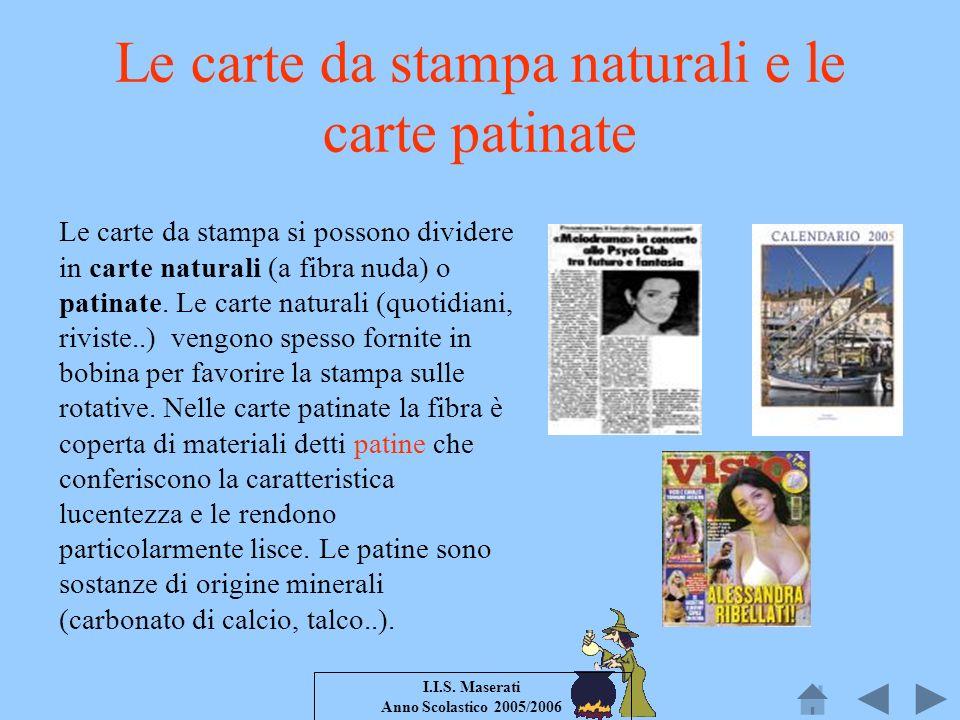 I.I.S. Maserati Anno Scolastico 2005/2006 Le carte da stampa naturali e le carte patinate Le carte da stampa si possono dividere in carte naturali (a