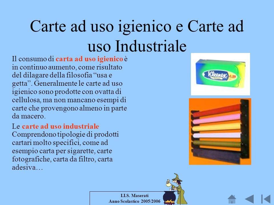 I.I.S. Maserati Anno Scolastico 2005/2006 Carte ad uso igienico e Carte ad uso Industriale Il consumo di carta ad uso igienico è in continuo aumento,