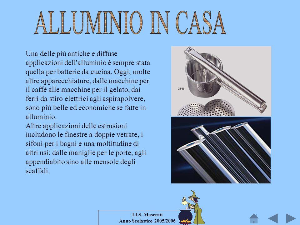 I.I.S. Maserati Anno Scolastico 2005/2006 Una delle più antiche e diffuse applicazioni dell'alluminio è sempre stata quella per batterie da cucina. Og