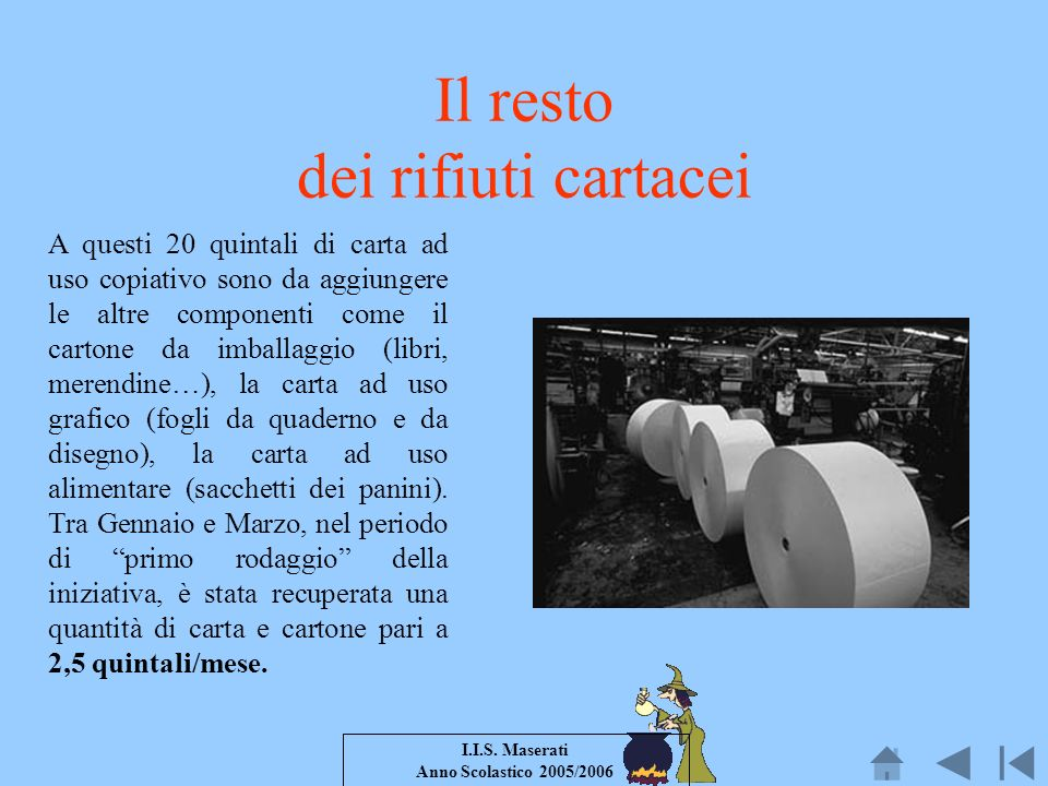 I.I.S. Maserati Anno Scolastico 2005/2006 Il resto dei rifiuti cartacei A questi 20 quintali di carta ad uso copiativo sono da aggiungere le altre com