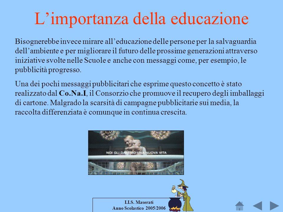 I.I.S. Maserati Anno Scolastico 2005/2006 Bisognerebbe invece mirare alleducazione delle persone per la salvaguardia dellambiente e per migliorare il