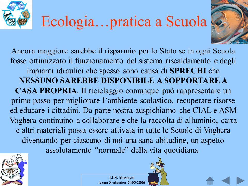 I.I.S. Maserati Anno Scolastico 2005/2006 Ancora maggiore sarebbe il risparmio per lo Stato se in ogni Scuola fosse ottimizzato il funzionamento del s
