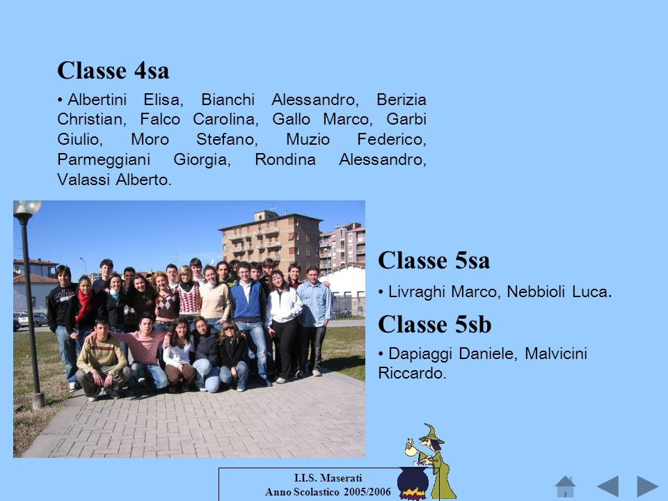 I.I.S. Maserati Anno Scolastico 2005/2006 Classe 4sa Albertini Elisa, Bianchi Alessandro, Berizia Christian, Falco Carolina, Gallo Marco, Garbi Giulio