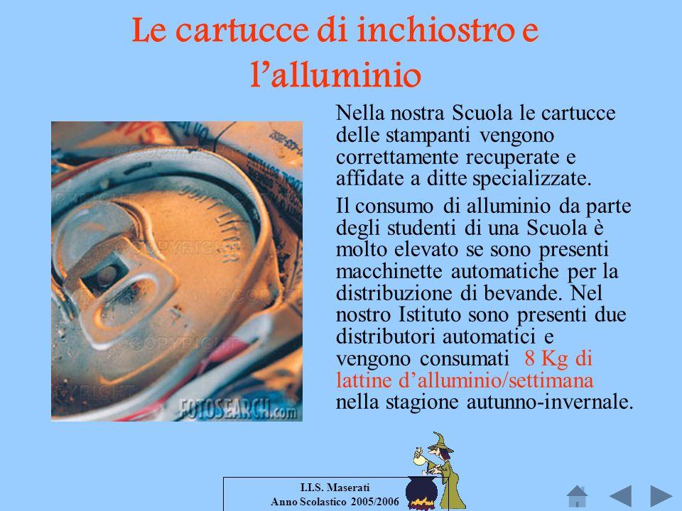 I.I.S. Maserati Anno Scolastico 2005/2006 Le cartucce di inchiostro e lalluminio Nella nostra Scuola le cartucce delle stampanti vengono correttamente