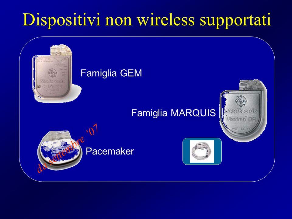 Famiglia GEM Famiglia MARQUIS Pacemaker Dispositivi non wireless supportati da settembre 07