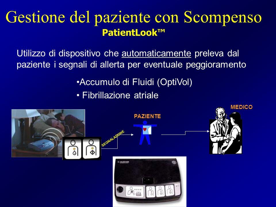 Utilizzo di dispositivo che automaticamente preleva dal paziente i segnali di allerta per eventuale peggioramento MEDICO SEGNALAZIONE PAZIENTE Gestion