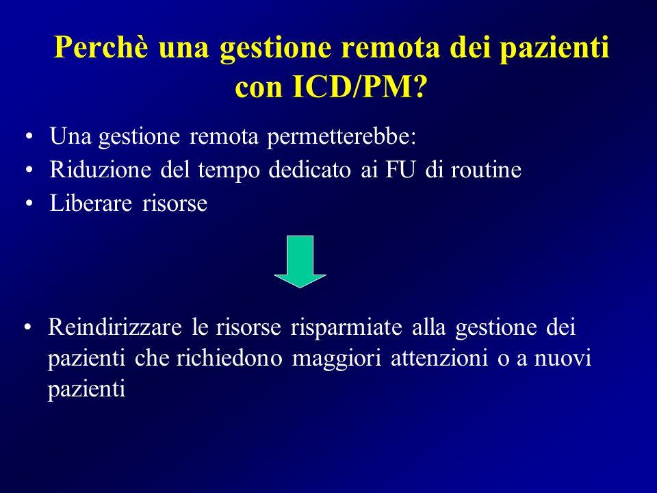 Perchè una gestione remota dei pazienti con ICD/PM? Una gestione remota permetterebbe: Riduzione del tempo dedicato ai FU di routine Liberare risorse