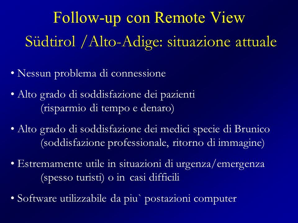 Follow-up con Remote View Südtirol /Alto-Adige: situazione attuale Nessun problema di connessione Alto grado di soddisfazione dei pazienti (risparmio