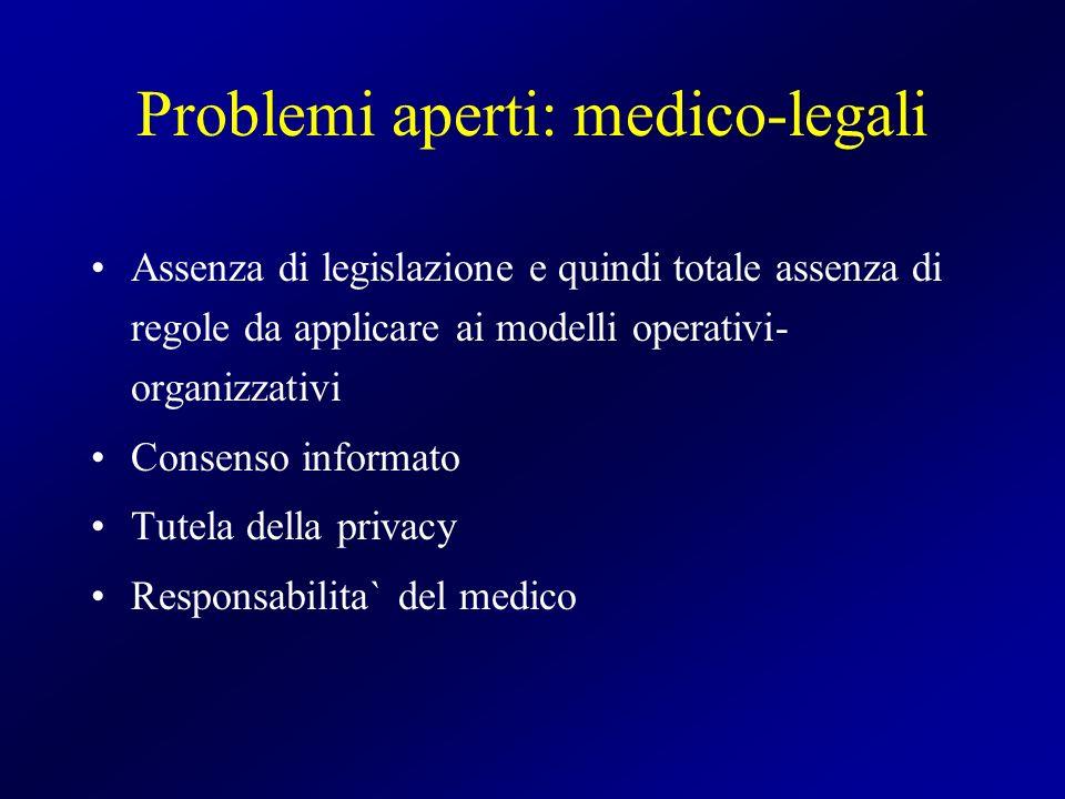 Problemi aperti: medico-legali Assenza di legislazione e quindi totale assenza di regole da applicare ai modelli operativi- organizzativi Consenso inf