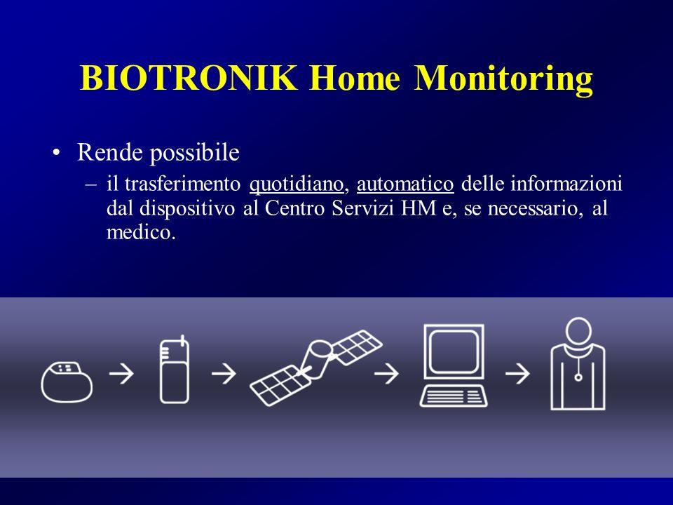 BIOTRONIK Home Monitoring Rende possibile –il trasferimento quotidiano, automatico delle informazioni dal dispositivo al Centro Servizi HM e, se neces