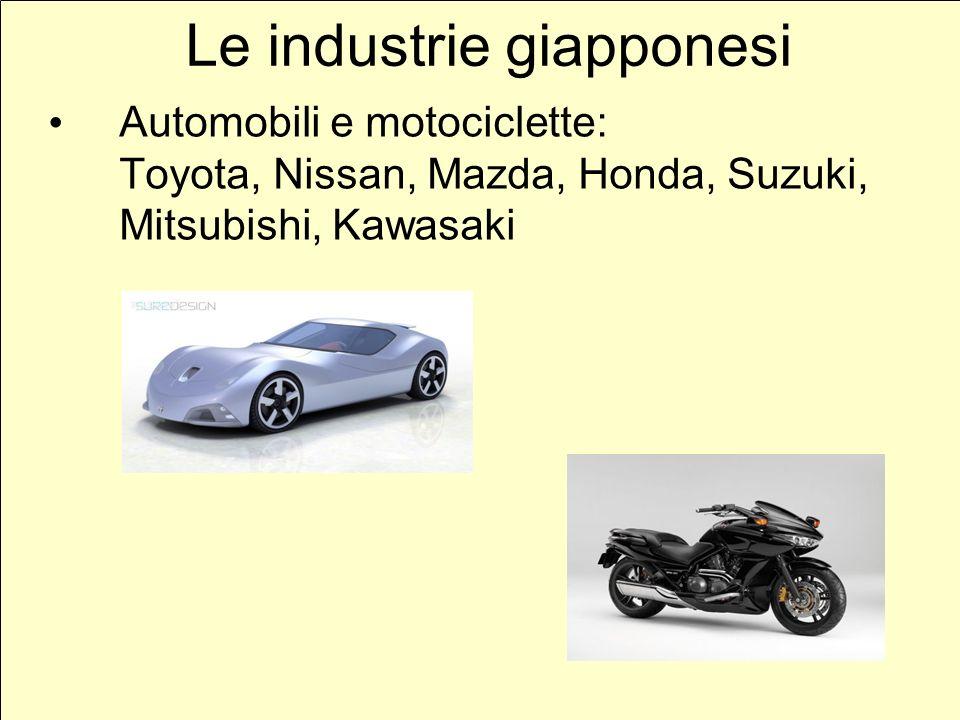Le industrie giapponesi Automobili e motociclette: Toyota, Nissan, Mazda, Honda, Suzuki, Mitsubishi, Kawasaki