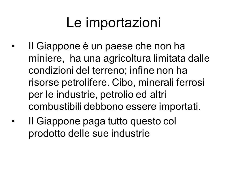 Le importazioni Il Giappone è un paese che non ha miniere, ha una agricoltura limitata dalle condizioni del terreno; infine non ha risorse petrolifere