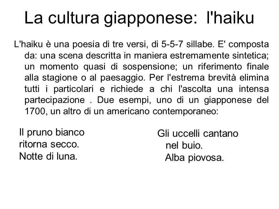 La cultura giapponese: l'haiku L'haiku è una poesia di tre versi, di 5-5-7 sillabe. E' composta da: una scena descritta in maniera estremamente sintet