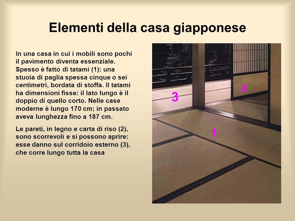 Elementi della casa giapponese In una casa in cui i mobili sono pochi il pavimento diventa essenziale. Spesso è fatto di tatami (1): una stuoia di pag