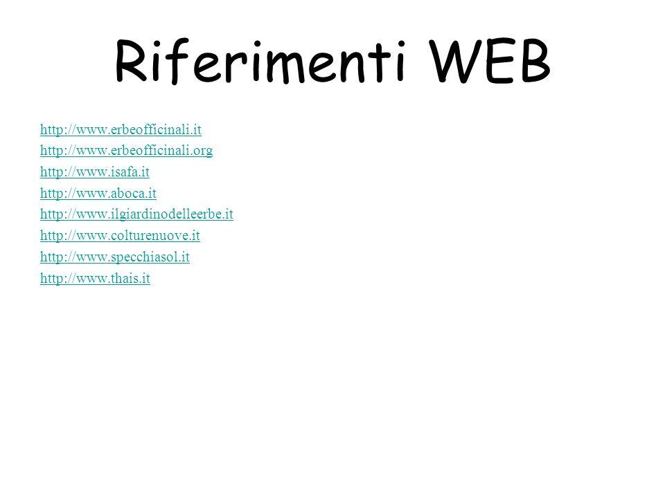 Riferimenti WEB http://www.erbeofficinali.it http://www.erbeofficinali.org http://www.isafa.it http://www.aboca.it http://www.ilgiardinodelleerbe.it http://www.colturenuove.it http://www.specchiasol.it http://www.thais.it