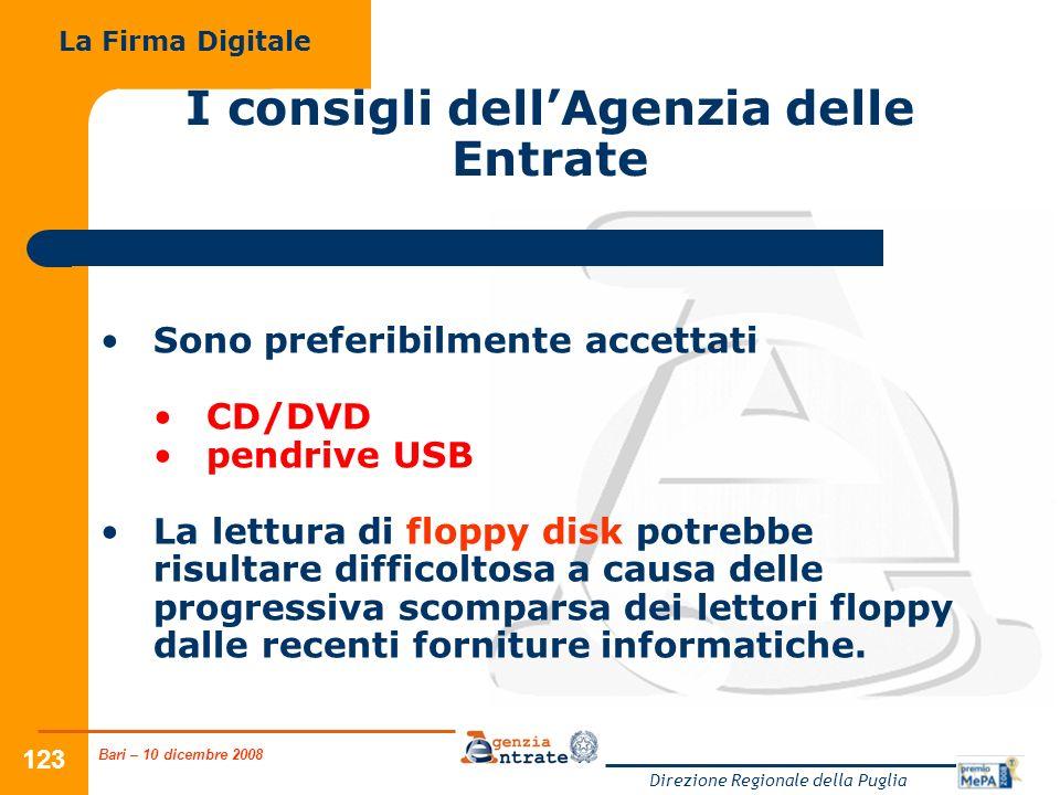 Bari – 10 dicembre 2008 Direzione Regionale della Puglia 123 Sono preferibilmente accettati CD/DVD pendrive USB La lettura di floppy disk potrebbe risultare difficoltosa a causa delle progressiva scomparsa dei lettori floppy dalle recenti forniture informatiche.