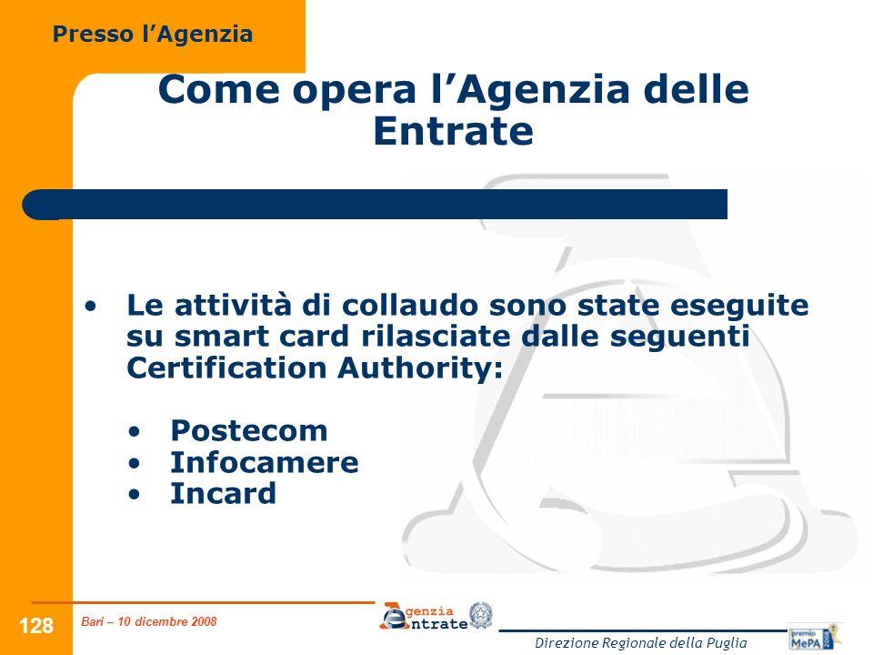 Bari – 10 dicembre 2008 Direzione Regionale della Puglia 128 Come opera lAgenzia delle Entrate Le attività di collaudo sono state eseguite su smart ca