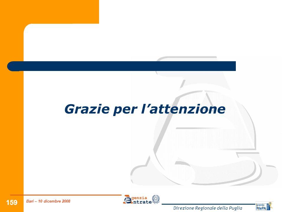 Bari – 10 dicembre 2008 Direzione Regionale della Puglia 159 Grazie per lattenzione