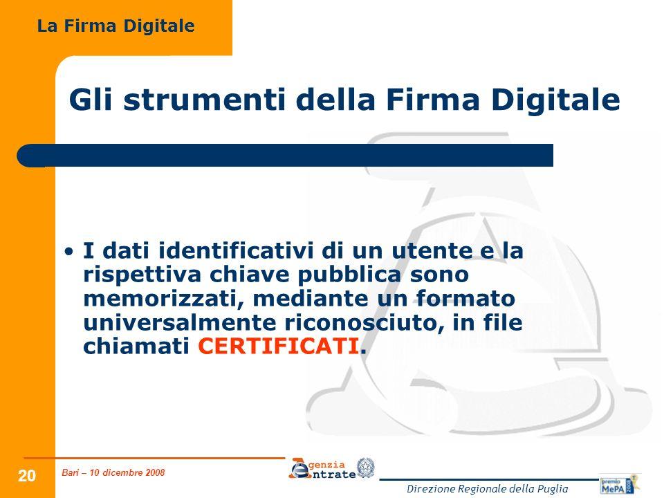 Bari – 10 dicembre 2008 Direzione Regionale della Puglia 20 Gli strumenti della Firma Digitale I dati identificativi di un utente e la rispettiva chia