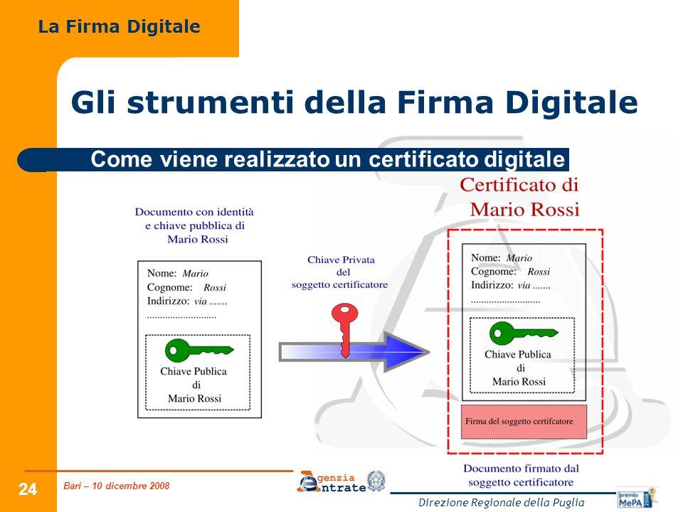 Bari – 10 dicembre 2008 Direzione Regionale della Puglia 24 Gli strumenti della Firma Digitale La Firma Digitale Come viene realizzato un certificato