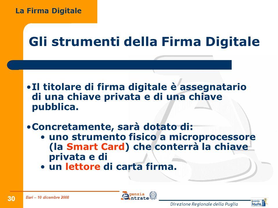 Bari – 10 dicembre 2008 Direzione Regionale della Puglia 30 Gli strumenti della Firma Digitale Il titolare di firma digitale è assegnatario di una chi