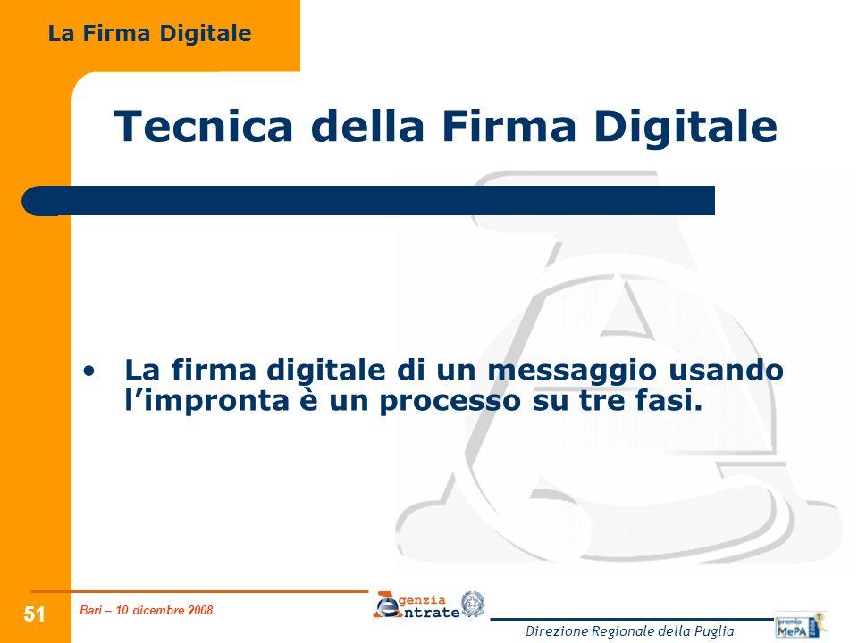 Bari – 10 dicembre 2008 Direzione Regionale della Puglia 51 Tecnica della Firma Digitale La firma digitale di un messaggio usando limpronta è un processo su tre fasi.