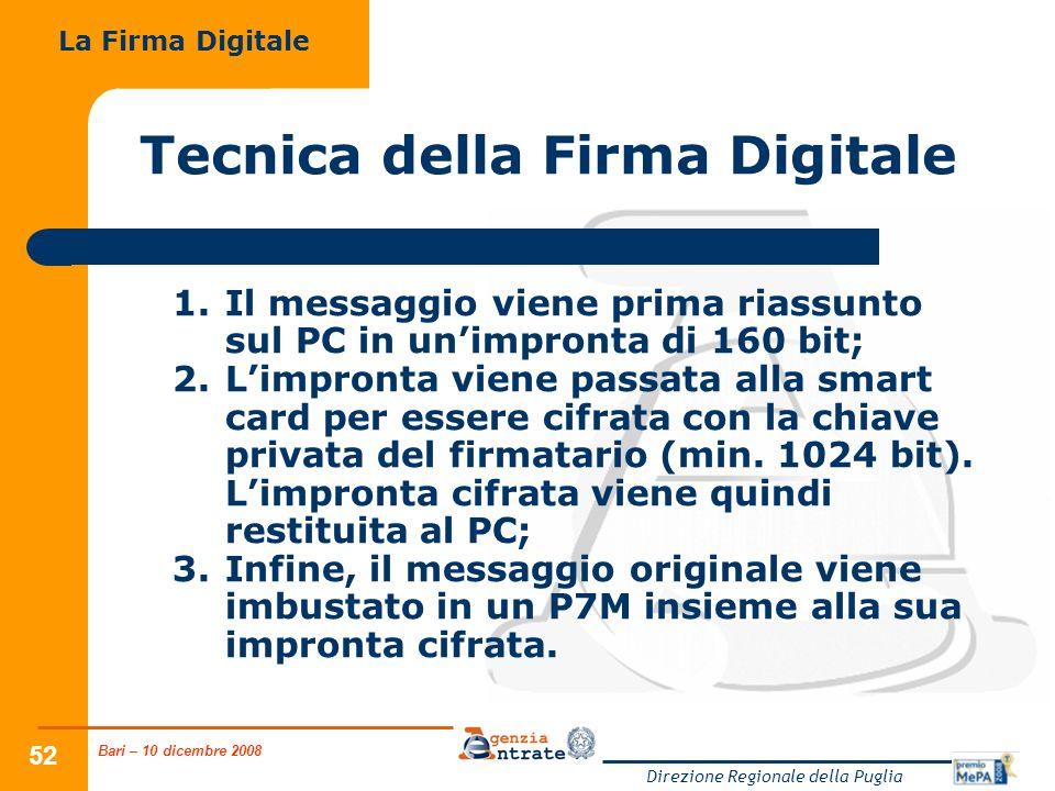 Bari – 10 dicembre 2008 Direzione Regionale della Puglia 52 Tecnica della Firma Digitale 1.Il messaggio viene prima riassunto sul PC in unimpronta di