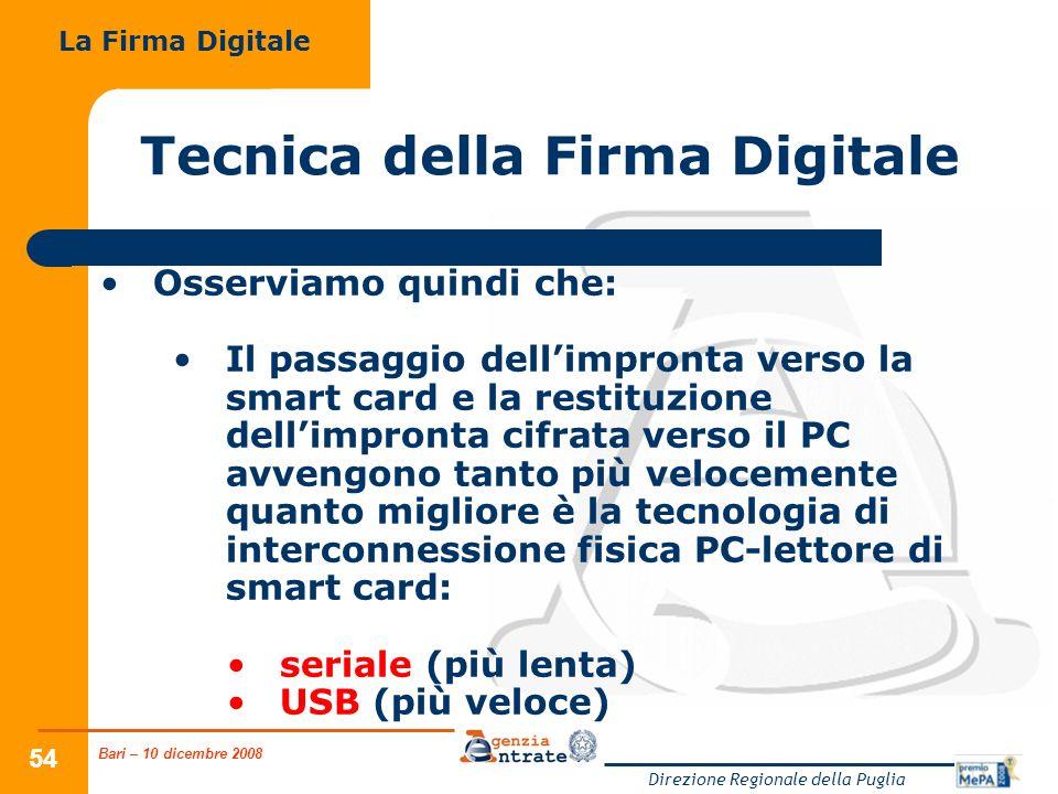 Bari – 10 dicembre 2008 Direzione Regionale della Puglia 54 Tecnica della Firma Digitale Osserviamo quindi che: Il passaggio dellimpronta verso la sma
