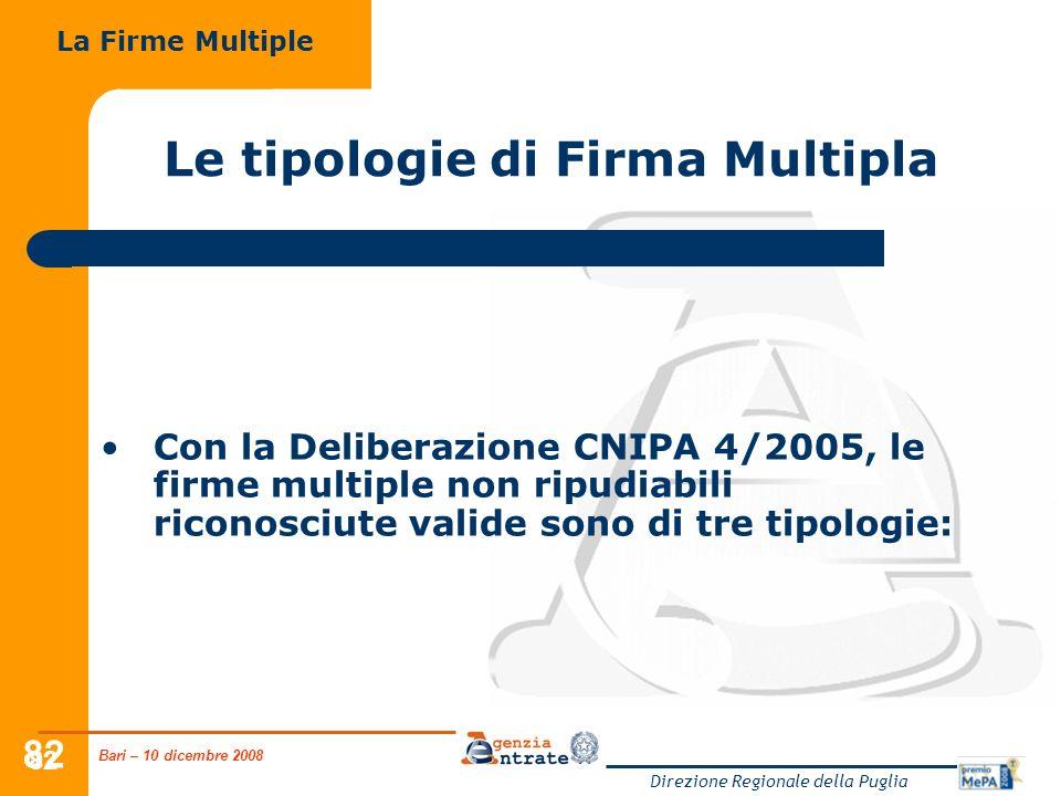 Bari – 10 dicembre 2008 Direzione Regionale della Puglia 82 Le tipologie di Firma Multipla Con la Deliberazione CNIPA 4/2005, le firme multiple non ripudiabili riconosciute valide sono di tre tipologie: La Firme Multiple