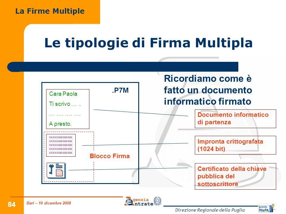 Bari – 10 dicembre 2008 Direzione Regionale della Puglia 84 Ricordiamo come è fatto un documento informatico firmato.P7M Documento informatico di part