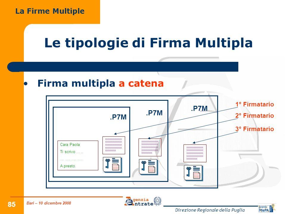 Bari – 10 dicembre 2008 Direzione Regionale della Puglia 85.P7M Cara Paola Ti scrivo …..