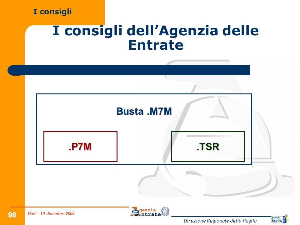 Bari – 10 dicembre 2008 Direzione Regionale della Puglia 98 I consigli dellAgenzia delle Entrate I consigli.P7M.TSR Busta.M7M