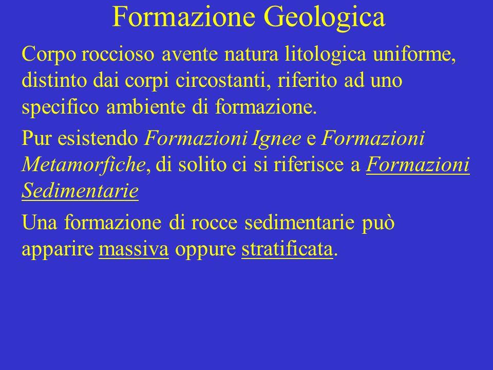 Formazione Geologica Corpo roccioso avente natura litologica uniforme, distinto dai corpi circostanti, riferito ad uno specifico ambiente di formazion