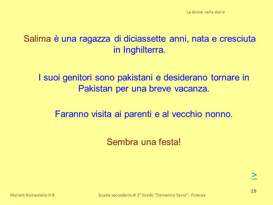 19 Le donne nella storia Scuola secondaria di 1° Grado Domenico Savio - Potenza Salima è una ragazza di diciassette anni, nata e cresciuta in Inghilte