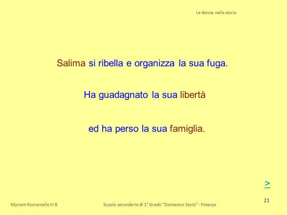 21 Le donne nella storia Scuola secondaria di 1° Grado Domenico Savio - PotenzaMyriam Romaniello III B Salima si ribella e organizza la sua fuga. Ha g