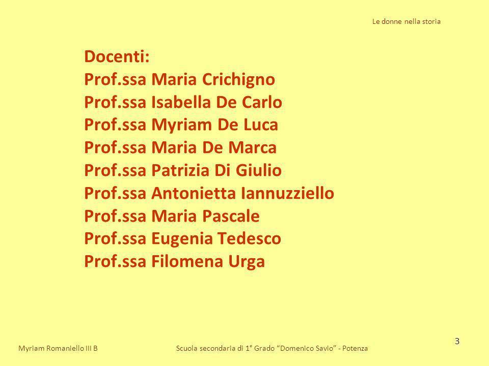 44 Le donne nella storia Scuola secondaria di 1° Grado Domenico Savio - PotenzaMyriam Romaniello III B Nelle fabbriche, le nuove assunte venivano considerate oggetto di favoritismi interessati da parte dei dirigenti maschi.