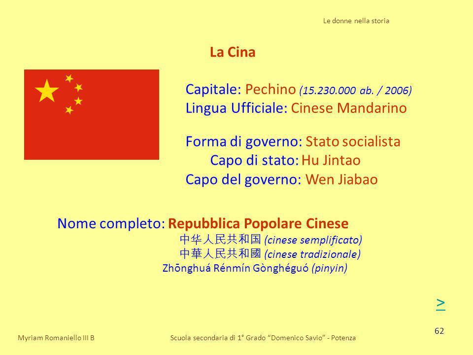 62 Scuola secondaria di 1° Grado Domenico Savio - Potenza Forma di governo: Stato socialista Capo di stato: Hu Jintao Capo del governo: Wen Jiabao La