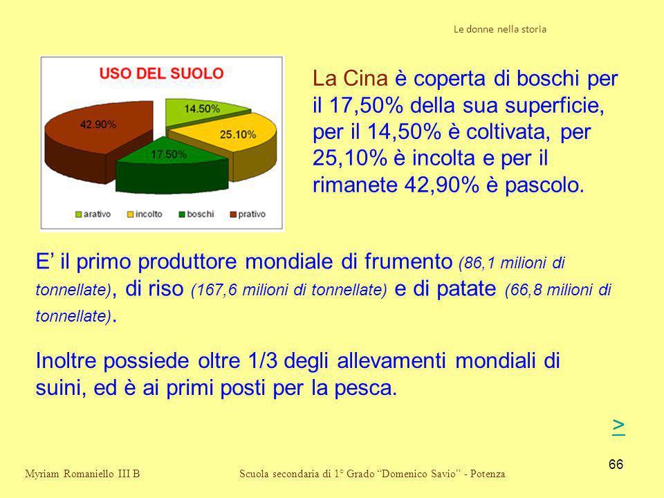 66 Scuola secondaria di 1° Grado Domenico Savio - Potenza La Cina è coperta di boschi per il 17,50% della sua superficie, per il 14,50% è coltivata, p