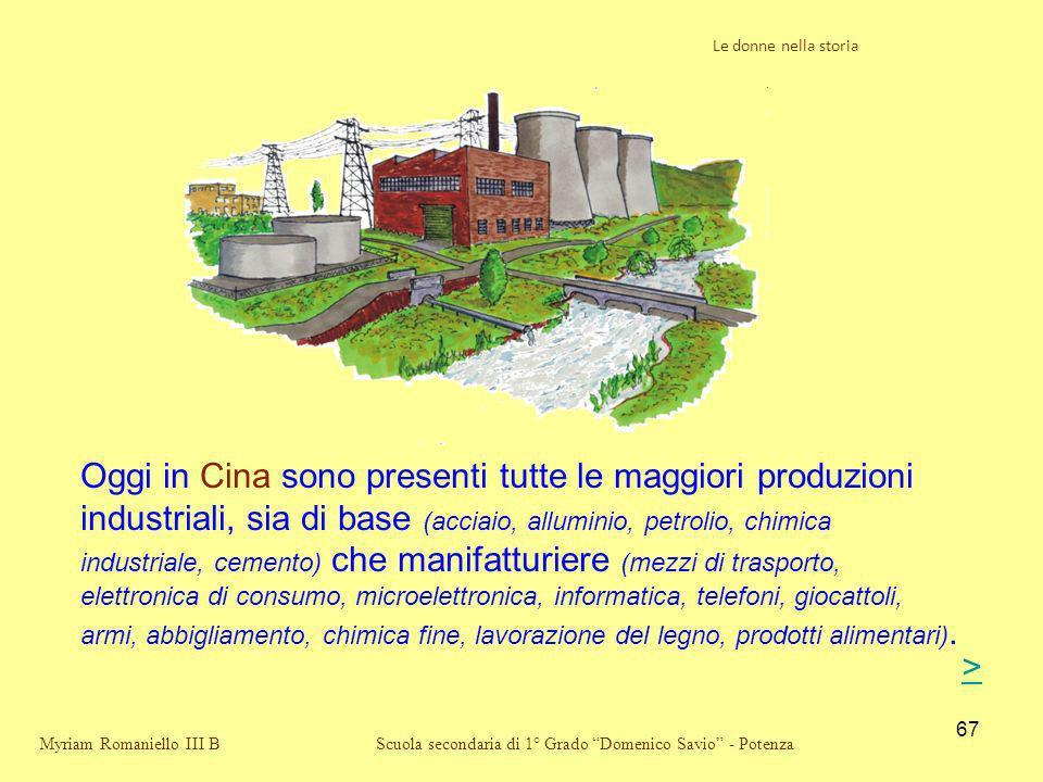 67 Scuola secondaria di 1° Grado Domenico Savio - Potenza Oggi in Cina sono presenti tutte le maggiori produzioni industriali, sia di base (acciaio, a