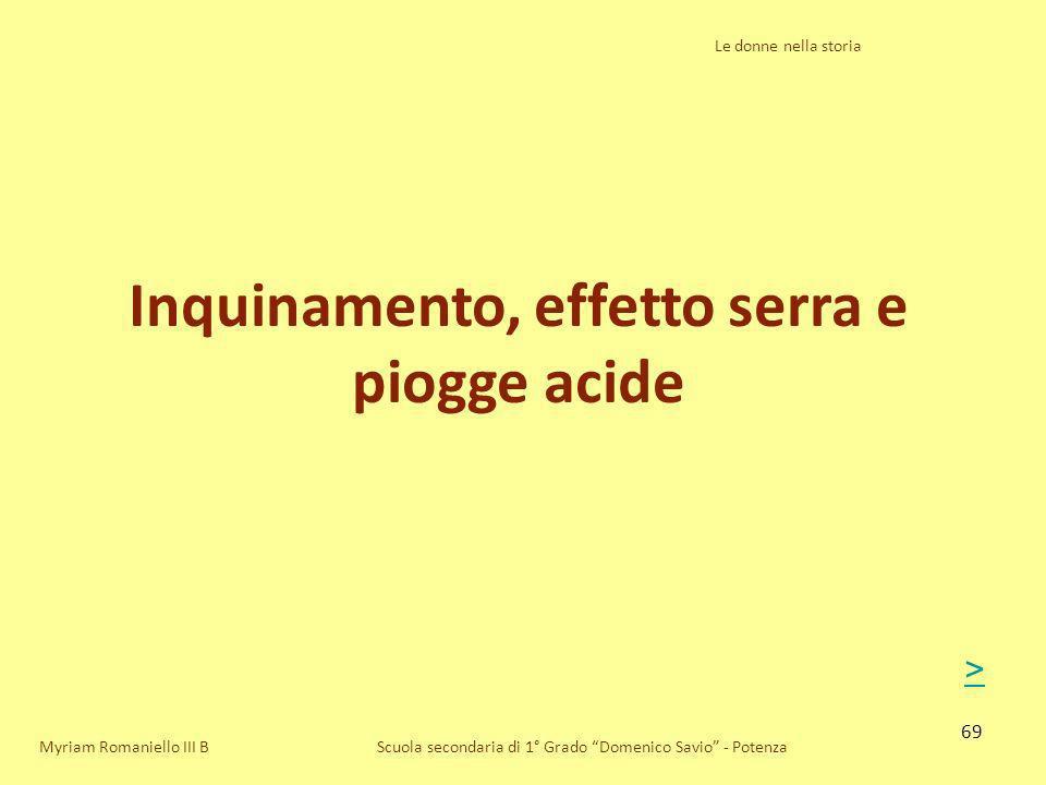 69 Le donne nella storia Scuola secondaria di 1° Grado Domenico Savio - Potenza Inquinamento, effetto serra e piogge acide Myriam Romaniello III B >