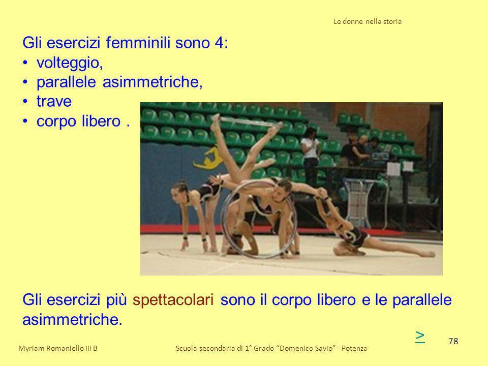 78 Le donne nella storia Scuola secondaria di 1° Grado Domenico Savio - PotenzaMyriam Romaniello III B Gli esercizi femminili sono 4: volteggio, paral
