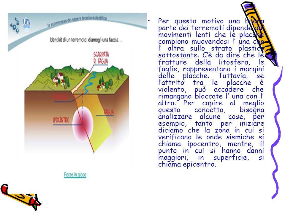 Per questo motivo una buona parte dei terremoti dipende dai movimenti lenti che le placche compiono muovendosi l una con l altra sullo strato plastico