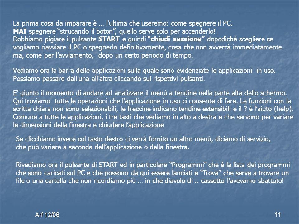 Arf 12/06 11 La prima cosa da imparare è … lultima che useremo: come spegnere il PC.